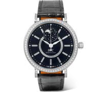 Portofino Automatic Moon Phase 37 Mm Uhr Aus 18 Karat  Mit Diamanten Und Alligatorlederarmband