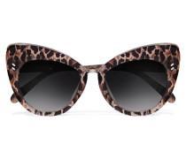 Sonnenbrille Mit Cat-eye-rahmen Aus Azetat Mit Leopardenprint - Braun