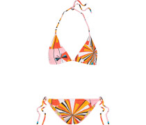 Wendbarer Triangel-bikini Mit Print - Orange