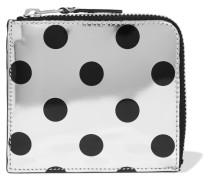 Portemonnaie aus Metallic-leder mit Polka-dots -
