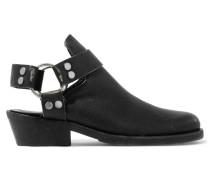 Santiago Ankle Boots Aus Strukturiertem Leder In Distressed-optik - Schwarz
