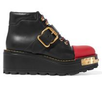 Verzierte Ankle Boots Aus Leder - Schwarz