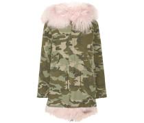 Parka Aus Baumwoll-canvas Mit Shearling-futter Und Camouflage-print - Armeegrün