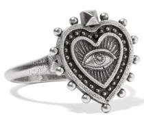 Brünierter, Silberfarbener Ring