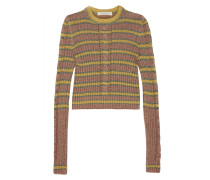 Gestreifter Pullover In Zopfstrick In Metallic-optik - Gelb