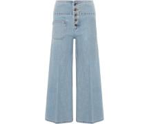 Verkürzte, Hoch Sitzende Jeans Mit Weitem Bein -