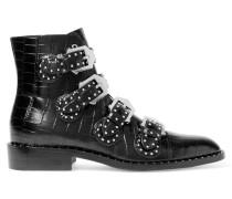 Nietenbesetzte Ankle Boots Aus Schwarzem Glanzleder Mit Krokodileffekt