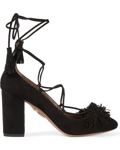 aquazzura damen wild thing pumps aus veloursleder mit. Black Bedroom Furniture Sets. Home Design Ideas