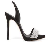 Slingback-sandalen Aus Veloursleder Mit Kristallverzierungen -