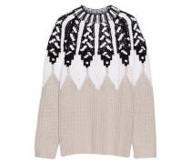 Pullover Aus Einer Wollmischung Mit Intarsienmuster - Beige
