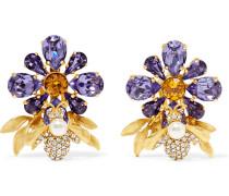Vergoldete Ohrclips mit Swarovski-Kristallen und Kunstperle