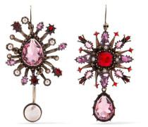 Vergoldete Ohrringe Mit Kristallen Und Kunstperlen -