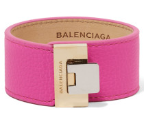 Le Dix Armband Aus Strukturiertem Leder Mit Silber- Und Goldfarbenen Details - Pink