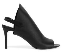 Slingback-sandalen Aus Strukturiertem Leder - Schwarz