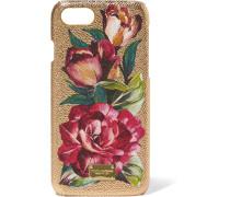 Iphone 7-hülle Aus Strukturiertem Leder Und Acryl In Metallic-optik Mit Floralem Print -
