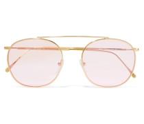 Mykonos Ii Goldfarbene Sonnenbrille Mit Rundem Rahmen -