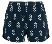 Shorts Aus Bedruckter Popeline - Rauchblau