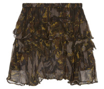 Dicie gestufter Minirock aus Krepon mit Rüschen und Camouflage-Print