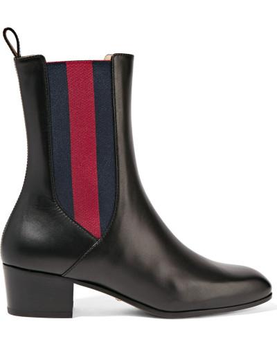 gucci damen chelsea boots aus leder reduziert. Black Bedroom Furniture Sets. Home Design Ideas