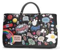Ebury Maxi All Over Stickers Tote Aus Leder - Schwarz