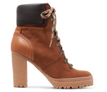Lederbesetzte Ankle Boots Aus Nubukleder -