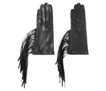 Lederhandschuhe Mit Fransen - Schwarz