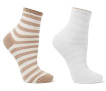 Set Aus Zwei Paar Gestreiften Socken Aus Einer Baumwollmischung -