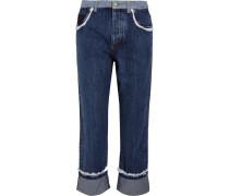 Hoch Sitzende Jeans Mit Geradem Bein Und Lochstickereibesatz -
