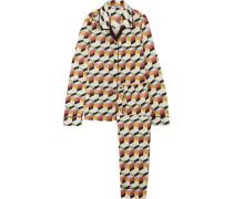 Bedruckter Pyjama Aus Seiden-twill -