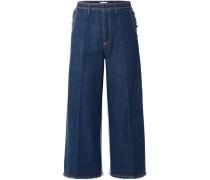 Verkürzte, Hoch Sitzende Jeans Mit Weitem Bein In Zweifarbiger Optik -
