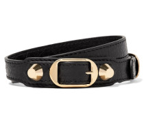 Arena Armband Aus Strukturiertem Leder Mit Goldfarbenen Details -