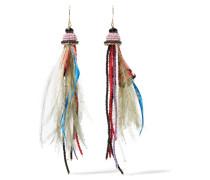 Ohrringe Mit Perlen Und Federn - Rot