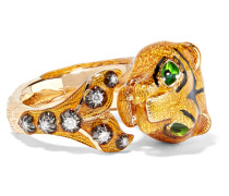 Ring Aus 18 Karat Gold Mit Diamanten Und Emaille -