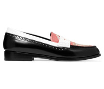 Bestickte Loafers Aus Leder In Colour-block-optik - Schwarz