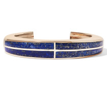 Inlay Cross Goldfarbene Armspange Mit Lapislazuli - Blau