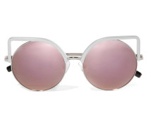 Verspiegelte Silberfarbene Sonnenbrille Mit Cat-eye-rahmen -