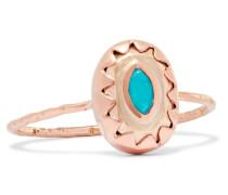 Montauk Ring aus 9 Karat Rosé- und Gelbgold mit Türkis -
