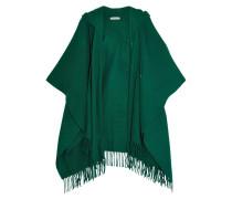Poncho Aus Einer Woll-kaschmirmischung Mit Kapuze - Grün