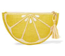 Limon Verzierte Clutch Aus Geflochtenem Stroh -