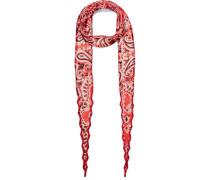 Bedruckter Schal Aus Georgette Mit Perlenverzierung - Rot