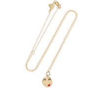 Small Tongue Out Kette Aus 14 Karat  Mit Emaille