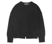 Gerippter Pullover Aus Einer Woll-kaschmirmischung Mit Rückenausschnitt - Schwarz