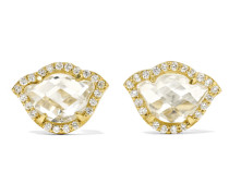 Nalika Lotus Ohrringe aus 18 Karat  mit Topasen und Diamanten