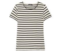 Lynn Gestreiftes T-shirt Aus Baumwolle - Weiß