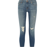 Tief Sitzende Skinny Jeans In Distressed-optik - Mittelblauer Denim