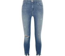 Alana Verkürzte Hoch Sitzende Skinny Jeans In Distressed-optik - Mittelblauer Denim