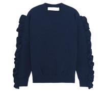 Pullover Aus Rippstrick Mit Rüschenbesätzen - Navy