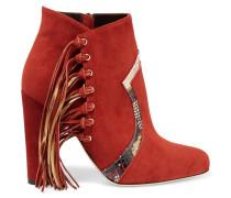 Harlow Ankle Boots Aus Veloursleder Mit Fransen Und Elaphelederbesatz - Ziegelrot