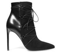 Jane Ankle Boots Aus Leder Und Veloursleder - Schwarz