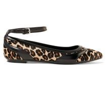 Flache Schuhe Aus Kalbshaar Und Leder Mit Leopardenprint Und Spitzer Kappe - Leoparden-Print